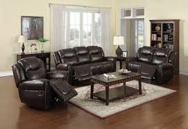 Recliner Sofa Sets Sale by Nora Brown Leather Reclining 3 Pc Living Room Sofa Set For Sale