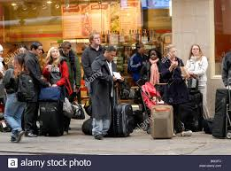 Pennsylvania travelers images Travelers wait on line to board the economically priced bolt bus jpg