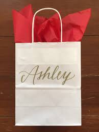 bridesmaid gift bag personalized gift bag gold and navy lettered customized