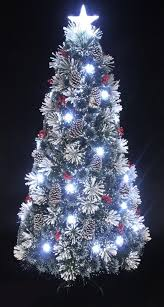 6ft snowy led frosted pine fibre optic tree