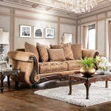 traditional sofas with wood trim ersa traditional wood trim chenille fabric gold bronze sofa by