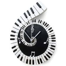 wall clock piano scroll trax music store