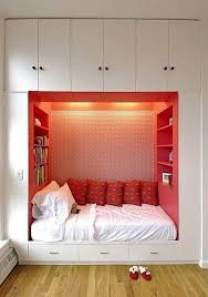Bedroom With Red Accent Wall - alluring small bedroom design layout performing white solid wooden