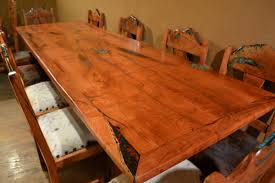 Slab Dining Room Table One Of A Kind Mesquite Furniture Turquoise Butterfly
