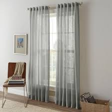Bed Bath And Beyond Curtains And Drapes Buy Sheer Grey Window Panels From Bed Bath U0026 Beyond