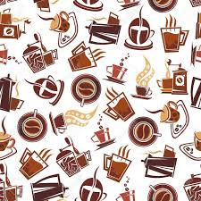 coffee shop background design brown coffee seamless pattern of cups of fresh brewed coffee