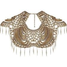 collar necklace images Gold tone pearl and spike collar necklace 624979 once wed my jpg