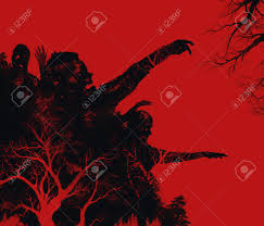 creepy crimson sky halloween background zombies illustration fantasy dead zombies attack on red