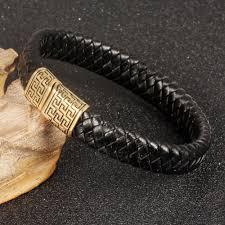 stainless steel buckle bracelet images Genuine leather bracelet men stainless steel leather hand woven jpg