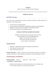 resume of financial analyst resume sample of finance analyst