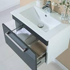 600mm wall hung single drawer vanity unit gloss grey image 3