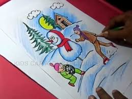 drawing room colour games how to draw winter season color drawing step by step for kids youtube