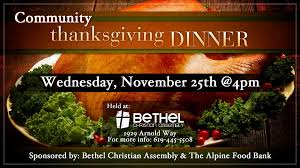 free community thanksgiving meal at bethel christian church