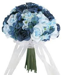 blue wedding bouquets hydrangea navy light blue tie large silk bridal