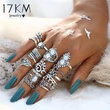 knuckle finger rings images Vintage hand knuckle opal finger ring set for women leaf flower jpg