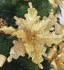 christmas decorations wholesale 2018 christmas flower poinsettia large golden flowers 22cm