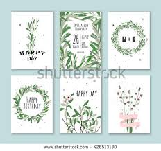 set creative botanical vector cards forest stock vector 714017386