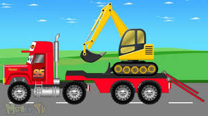 bigfoot presents meteor and the mighty monster trucks mcqueen transport truck and jcb truck fixing the road video for