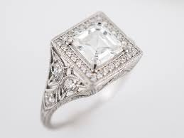 antique engagement ring art deco 1 14 gia asscher cut diamond in