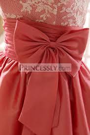 coral color lace taffeta bridesmaid dress in knee short length coral color