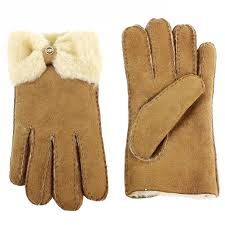 ugg sale ebay ugg s bow shorty winter fur lined gloves l brown ebay