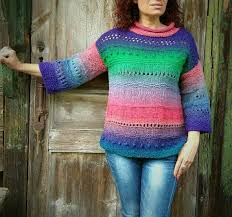multicolor sweater warm handknitted sweater organic wool дундага