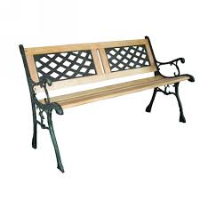 3 seater outdoor home wooden garden bench with cast iron legs seat
