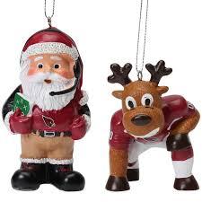 arizona cardinals reindeer santa 2 pack ornament set