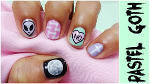 pastel goth u0026 easy gel nail art youtube