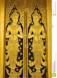 thai painting color gold door royalty free stock photos image