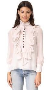 high neck ruffle blouse see by high neck ruffle blouse shopbop