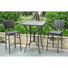 Resin Bistro Chairs International Caravan Barcelona Resin Wicker Bar Height Bistro Set