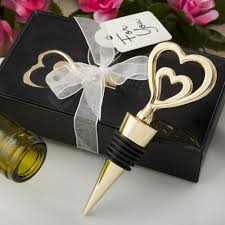 wine bottle wedding favors gold heart design all metal wine bottle stopper favors