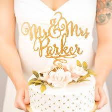 gold mr mrs cake topper custom cake topper for wedding cake