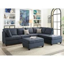 Sectional Sofa Pillows Esofastore Living Room Furniture Casual Dark Blue Dorris Fabric