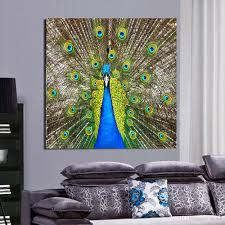 2017 green peacock canvas painting home decor canvas wall art