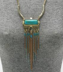 long turquoise pendant necklace images Long turquoise metal fringe pendant necklace set turquoise jpg