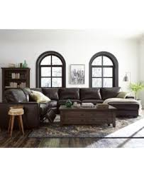 Sectional Sofas With Recliner by Adken 5 Pc Leather Sectional Sofa With 2 Power Recliners Created