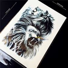 1pc cool black lions king monster flash waterproof tattoo stickers