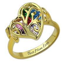 family rings for personalized family tree ring birthstone gold color cage ring tree