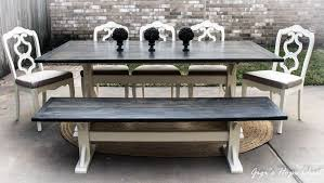 white farmhouse table black chairs custom mixed gel stain farmhouse table general finishes design center