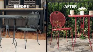How To Refinish Wrought Iron Patio Furniture by Kilz How To Refresh A Metal Bistro Set Youtube