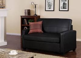 furniture black leather loveseat sleeper sofa with cushion what
