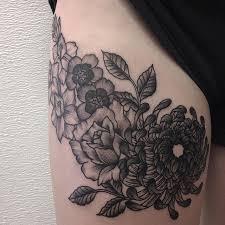 on the thigh tattoo tattoos flowers chrysanthemum violets