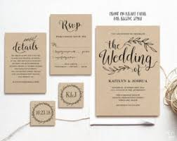 wedding invites rustic wedding invitation printable wedding invitation kraft