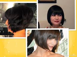 how to cutting bangs in a layered hairstyle how to cut hair at home do a short stacked chin length bob