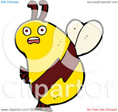 clipart of a cartoon bee royalty free vector illustration by