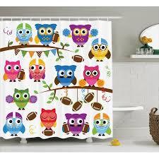 Sports Bathroom Accessories by Owls Home Decor Shower Curtain Set Sporty Owls Cheerleader League