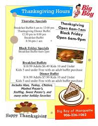 Can You Buy On Thanksgiving In Michigan Marquette Big Boy Home Marquette Michigan Menu Prices