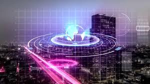 Modern City Animation Of Digital Hologram Scanning Technology Of Modern City